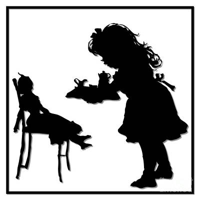 Scherenschnitte Digital Art - Tea Party Dolly Silhouette by Rose Santuci-Sofranko