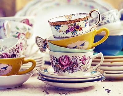 Tea Party Photograph - Tea Party - Vintage Tea Cups Photograph by Elle Moss