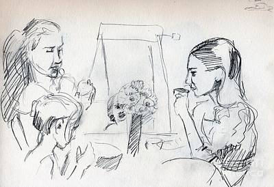 Whistler Drawing - Tea Party by Whistler Kenworthy