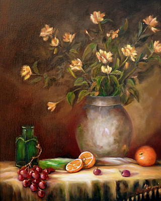 Still Life Painting - Tea Roses And More by Anne Barberi