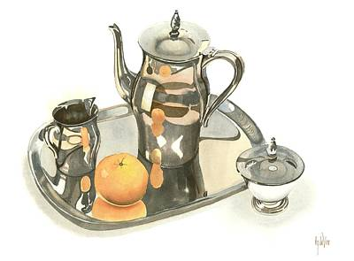 Tea Service With Orange Dramatic Print by Kip DeVore