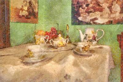 Table Cloth Painting - Tea Time  by L Wright