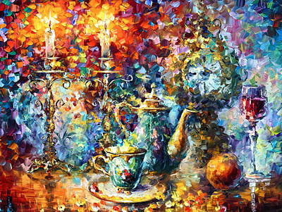 Wineglass Painting - Tea Time by Leonid Afremov