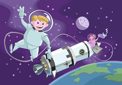 Astronauts Digital Art - Tea Time Space Walk by Martin Davey