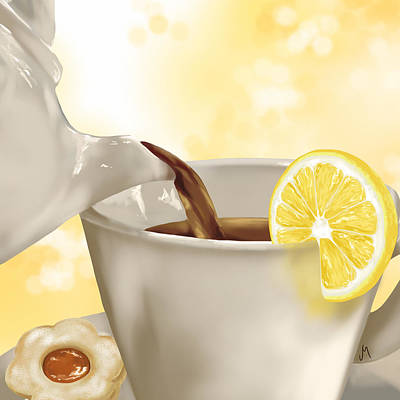 Lemon Digital Art - Tea Time by Veronica Minozzi