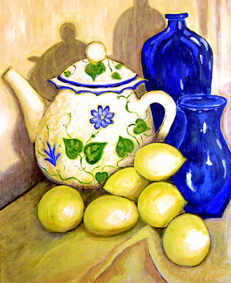 Lemon Painting - Tea With Lemon by Robin Mead
