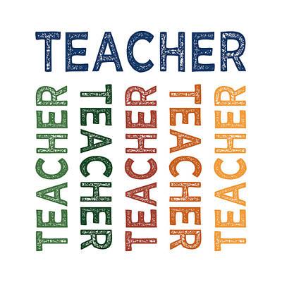 Teacher Cute Colorful Print by Flo Karp