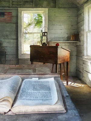 Teacher - One Room Schoolhouse With Book Print by Susan Savad