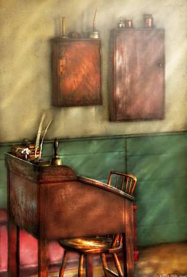 School Days Photograph - Teacher - The Teachers Desk by Mike Savad