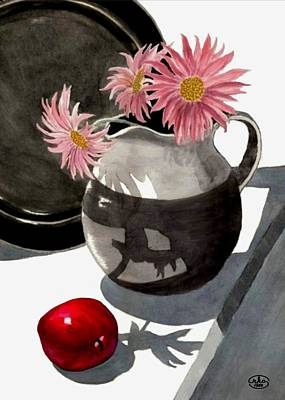 Water Pitcher Painting - Teachers Apple by Ron Chambers