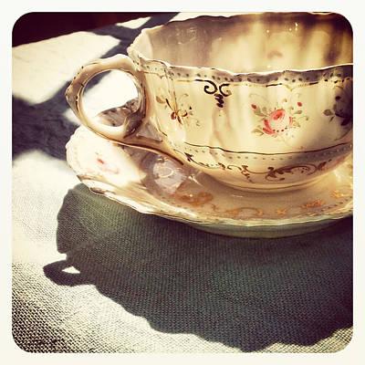 Shadows Photograph - Teacup On Robin's Egg Linen by Brooke Ryan