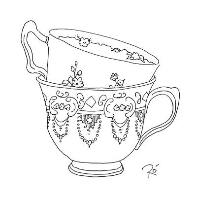 Stainless Steel Frame Drawing - Teacup Love by Roisin O Farrell