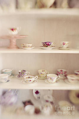 Beach House Photograph - Teacups In China Cabinet by Susan Gary