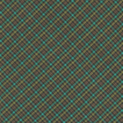 Teal And Green Diagonal Plaid Pattern Fabric Background Print by Keith Webber Jr