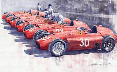 Vintage Sports Cars Painting - Team Lancia Ferrari D50 Type C 1956 Italian Gp by Yuriy  Shevchuk
