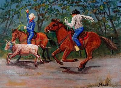 Steer Painting - Team Roping Sport by Joan Mace