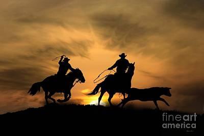 Steer Photograph - Team Work by Stephanie Laird