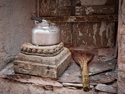 Daily Life Photograph - Teapot And Broom by Joan Carroll
