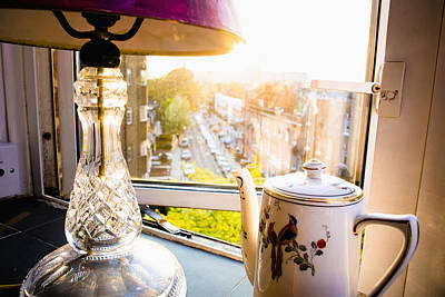 Table Lamp Photograph - Teapot And Lamp On Windowsill by Rick Senley