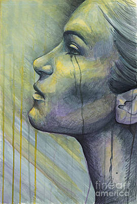 Sadness Painting - Tears In The Rain Colored Version by Michael  Volpicelli