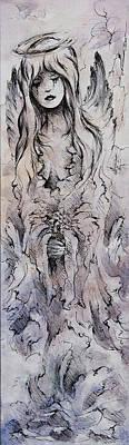 Sadness Painting - Tears Of An Angel by Rachel Christine Nowicki