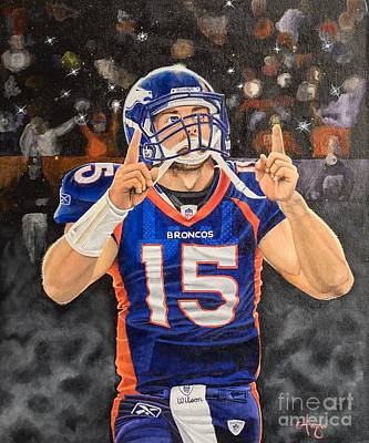 Tim Tebow Drawing - Tebow Moment by Justin Austin