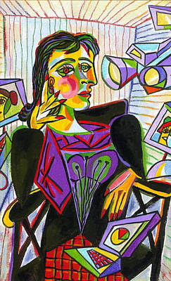 Parody Painting - Technology And Picasso by Leon Zernitsky