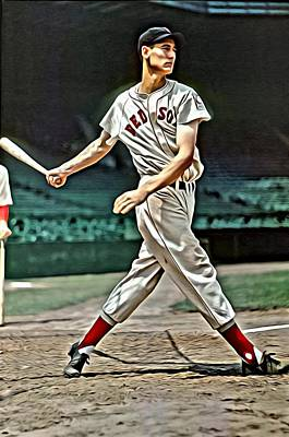Washington Nationals Painting - Ted Williams Painting by Florian Rodarte