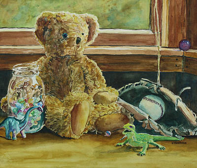Dinosaur Painting - Teddy And Friends by Jenny Armitage