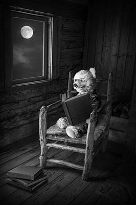 Teddie Photograph - Teddy Bear Reading By Moonlight by Randall Nyhof