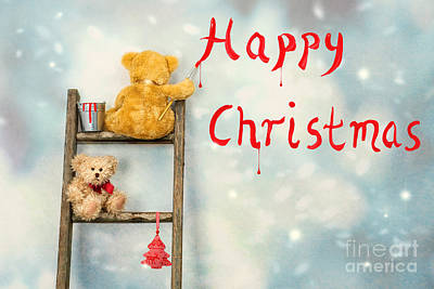 Teddy Bears At Christmas Print by Amanda Elwell