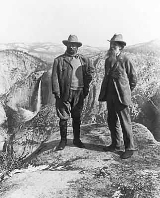 Turn Of The Century Photograph - Teddy Roosevelt And John Muir by Underwood Archives