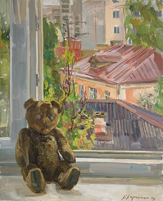 Teddy With Blue Eyes Print by Victoria Kharchenko