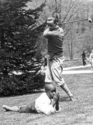 African-american Photograph - Teeing Off Head Of Caddy by Underwood Archives