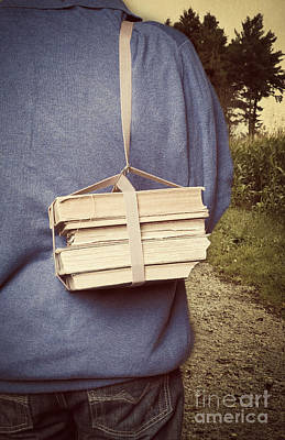 Teen Boy's Back With Books Print by Edward Fielding