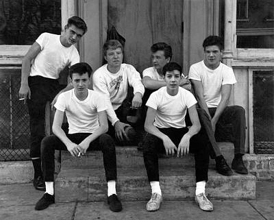 Adolescent Photograph - Teenage Boys On A Step by Underwood Archives