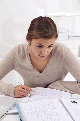 Revised Photograph - Teenage Girl Studying by Science Photo Library