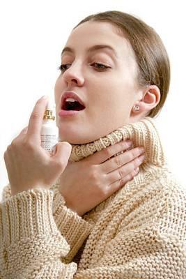 Teenage Girl Using Throat Spray Print by Lea Paterson