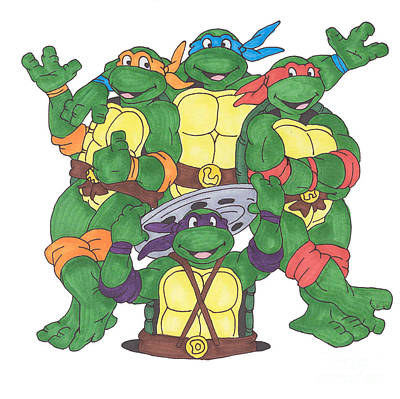 Turtle Drawing - Teenage Mutant Ninja Turtles  by Yael Rosen