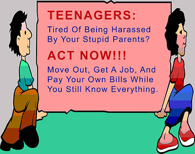 Teenagers Act Now Print by Barbara Snyder