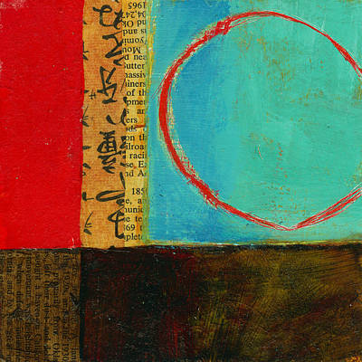 Abstract Collage Painting - Teeny Tiny Art 113 by Jane Davies