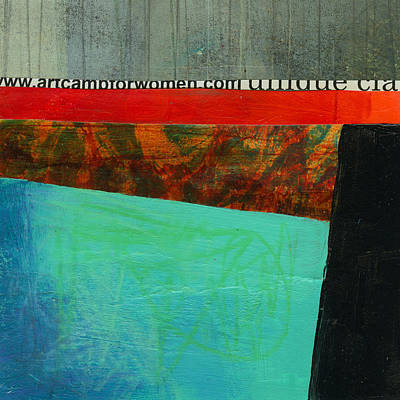Abstract Collage Painting - Teeny Tiny Art 122 by Jane Davies