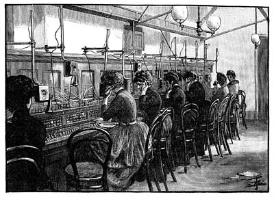 Telephone Bureau Exchange, 1889 Print by Science Photo Library