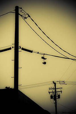 Duo Tone Photograph - Telephone Pole And Sneakers 3 by Scott Campbell