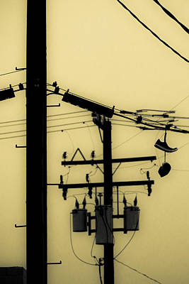 Duo Tone Photograph - Telephone Pole And Sneakers 5 by Scott Campbell