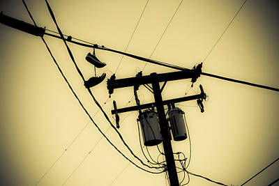 Duo Tone Photograph - Telephone Pole And Sneakers 7 by Scott Campbell