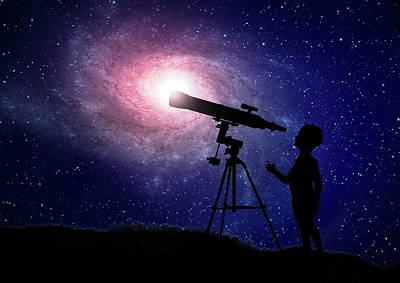 Space Photograph - Telescope At Night by Andrzej Wojcicki
