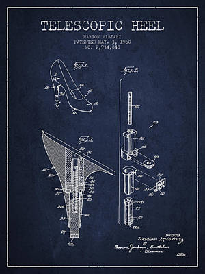 Telescopic Heel Patent From 1960 - Navy Blue Print by Aged Pixel