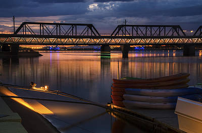 Sunset Photograph - Tempe Town Lake Canoes At Sunset by Dave Dilli