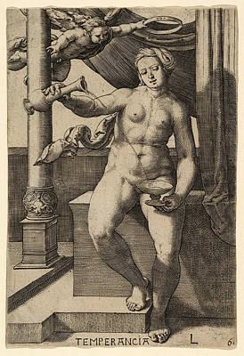 Lucas Van Leyden Drawing - Temperance. Temperancia by Lucas van Leyden